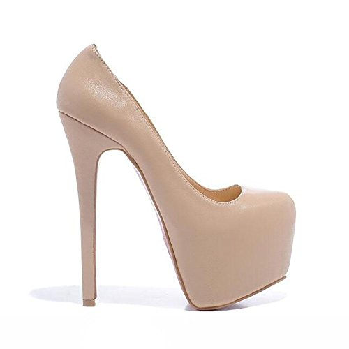 L'Europe en cuir pour femmes Waterproofthe Shallow Chaussures Mouth Noir Superfine Pompe simple , apricot , 36