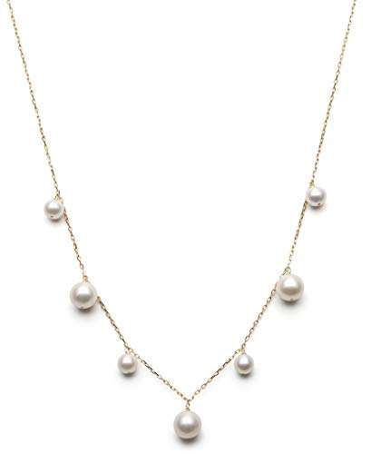 14k Yellow Gold Cultured Freshwater Pearl Tin Cup Station Chain Necklace ()