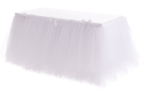 Handmade Tulle Table Skirt for Birthday Party, Wedding  Home Decoration! (3 yard, White)