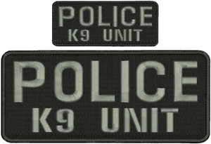 (Police K9 Unit Embroidery Patches 4X10 and 2X5 Hook ON Back Letters in Grey by HighQ Store)