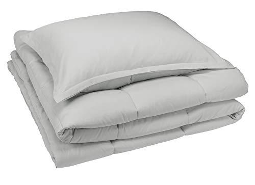 AmazonBasics Comforter Set, Twin / Twin XL, Light Grey