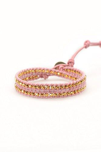Pink Beaded Bracelet - 18K Gold Vermeil Button, Leather Wrap Bracelet, Bead Bracelet (Vermeil Button)