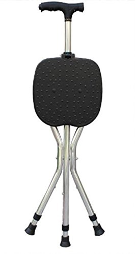 G&M Adjustable Folding Walking Cane Chair Stool Massage Walking Stick with Seat Portable Fishing Rest Stool with for Elder , black