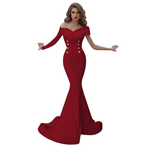 Kauneus Women's Sexy Elegant One Shoulder Evening Long Dress Wedding Evening Party Maxi Dress Red