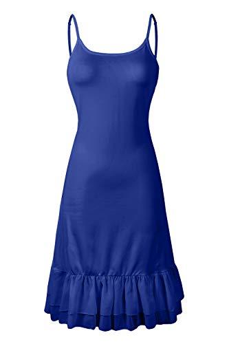 Women's Lephsnt Camisole Ruffle Chiffon BBX Extender Adjustable Dress Strap Blue Spaghetti q5cPf