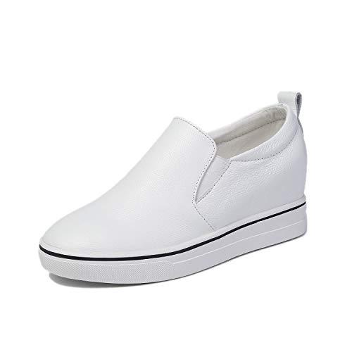 Blanco Informales 2019 Cordones Cuero Realce Calzados Zapatos 37 Zapatillas Negro Mocasines Nuevo Sin Y Mujer white De Damas Yan Calzado Invisible wCUxqqp