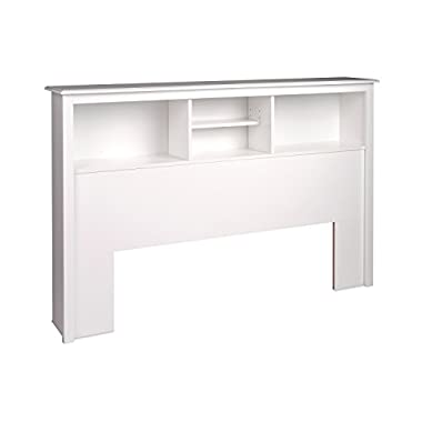 White Full /  Queen Bookcase Headboard