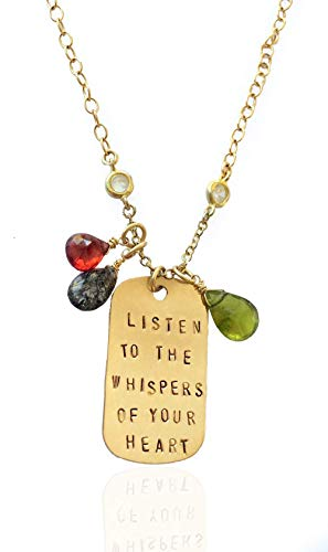 Gold Filled Listen to the Whispers of Your Heart Inspirational Dog Tag Necklace with Rutilated Quartz, Garnet and Olive Quartz Charms