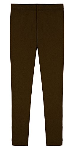 (Popular Big Girl's Cotton Ankle Length Leggings - Brown -)