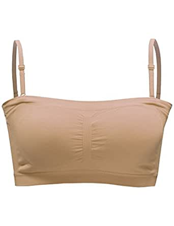 BEKDO Womens One Size Crop Bandeau Top with Removable Bra Pad and Strap-ONE SIZE-BEIGE