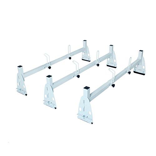 (AA-Racks Model X217 HighTop Square Van ladder Rack Rain-Gutter High Roof Rack 3 Bar Set - White)