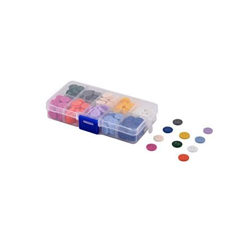DealMux Plastic Clothing Accessories Round Shaped Double Holes Sewing Button 13mm Dia 250 Pcs Assorted Color