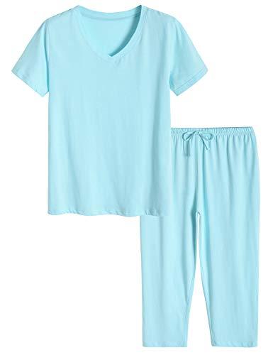 Latuza Women's Cotton Pajamas Set Tops and Capri Pants Sleepwear L Pale Blue