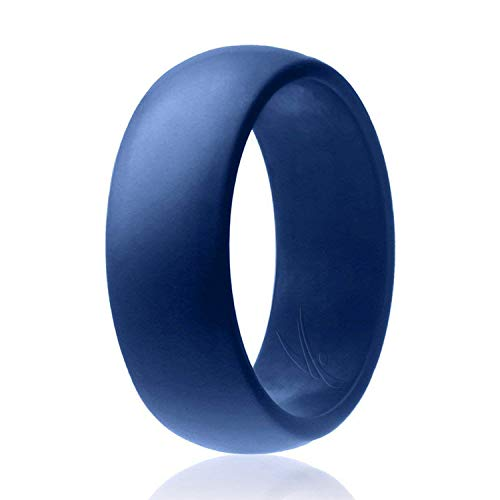 ROQ Silicone Wedding Ring for Men Affordable Silicone Rubber Band, Blue - Size 9 -