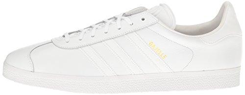 Adidas Originals Men's Gazelle Fashion Sneaker, White/White/Gold Metallic, 6 M US