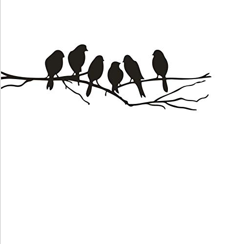 Birds on branch Art Home Decor Wall Sticker DIY Home Wall Decoration Art Vinyl Living Room Bedroom Wall Mural Sticker Smooth Wall Window Decor Vinyl A-146 (Black) (Branch Birds On A)
