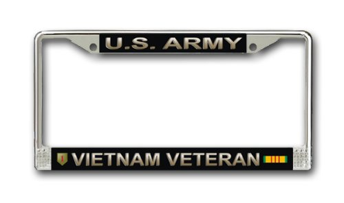 JR Studio US Army 1st Infantry Division Vietnam Veteran Military Veteran Stainless Steel Car Truck License Plate Frame Car Tag ()