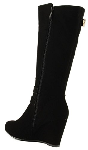 Paola High Wedge Boot Black Womens Strap DEV Nub Buckle Fashion Shoes Forever New Zip Knee vPU8I