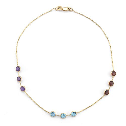 I. Reiss 14K Gold Mulit-Colored Semi-Precious Gemstone 10-inch Anklet (Yellow Gold)