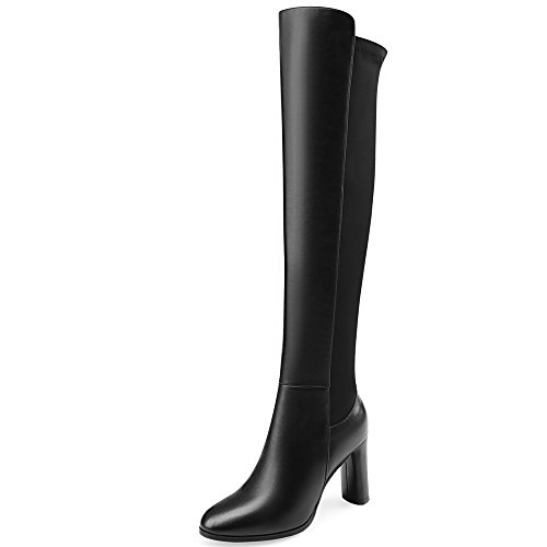 Nine Seven Genuine Leather Women's Round Toe Chunky Heel Side Zip Business Handmade Classy Knee Boots (7, Black) by Nine Seven