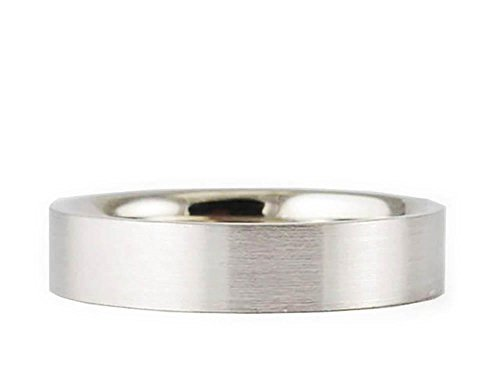 (American Set Co. 14k White Gold Flat Brushed 4mm Comfort FIT Wedding Band Size 7.25)