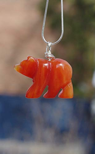 Red Agate Stone Bear Pendant Necklace