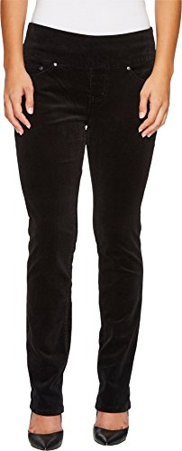 Jag Jeans Women's Petite Peri Straight Pull on Jean, Black Corduroy, 10P