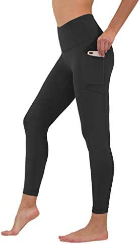 90 Degree By Reflex High Waist Tummy Control Interlink Squat Proof Ankle Length Leggings - Black - Large
