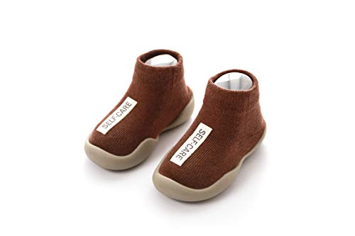 Danvi co. Baby Toddler Sock Shoes Stretch Knit Sneakers Kids Slippers Unisex (6-36 Months) (US 5, Brown) ()