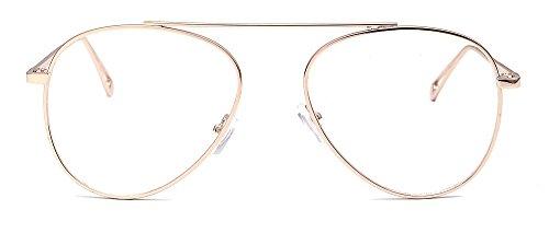 dorado de gafas piloto aviador metal gafas moda ALWAYSUV marco claras de lente PwqHCwgxz