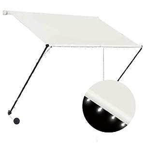 Goliraya Toldo Retráctil con LED Toldo Retráctil para Terraza Balcón Toldos para Ventanas Crema 100×150 cm