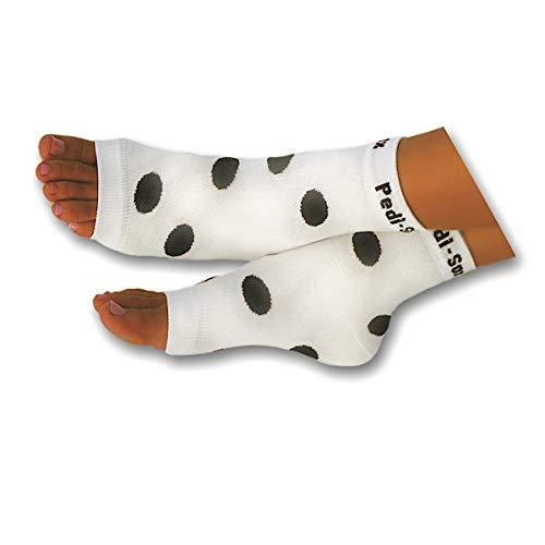 Original Pedi-Sox brand Toeless Socks for Pedicures : California Weight : Black & White Polka Dot