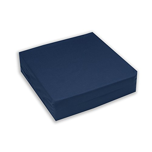 Egg Crate Foam Wheelchair Cushion, Navy Cover - 4 Inch Thick - Helps Distribute Weight, Medical Grade Comfort, Reduce and Prevent Pressure Sores - By Hermell Products (Wheelchair Seat Covers)