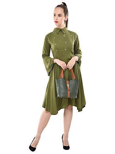 Dimpy Garments Mehandi Green Rayon Knee-Length Flared-Sleeve Dress for Women