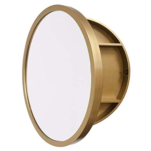 Gold Medicine Cabinet - Makeup Mirror Cabinet Bathroom Mirror Cabinet Solid Wood Bathroom Mirror with Shelf Wall-Mounted Round Mirror Cabinet, Left and Right Open (Color : Gold, Size : 60cm/23.6inches)