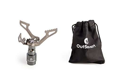 (OutSmart Ultralight Titanium Gas Stove | Single Burner Portable Stove for Backpacking, Outdoor Camping and Hiking | Because a House While Traveling Doesn't Come with a Travel Stove )