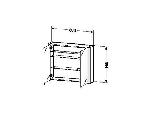 Duravit SPS 'Licht & Spiegel' 186x80x660mm 2 Spiegeltüren,2 Relinge,weiss aluminium, LM977103737