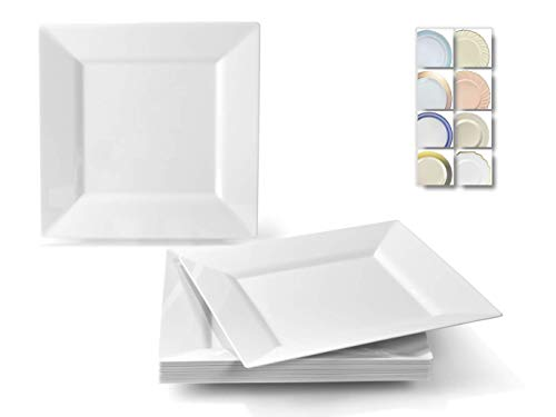 OCCASIONS 40 Plates Pack, Heavyweight Disposable Wedding Party Plastic Plates (9.5 Dinner Plate, Square white)