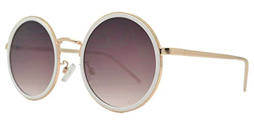 Froya Round Circle Sunglasses Retro Vintage Inspired Style Women (White + Brown)
