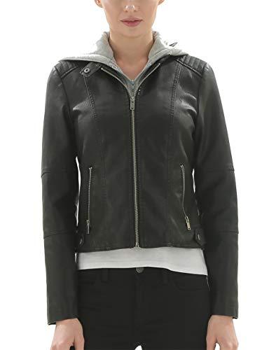 Fahsyee Women's Faux Leather Hooded Jackets, Moto Biker Coat Short PU Motorcycle Outwear Fitted Slim Black - Black Jacket Ladies