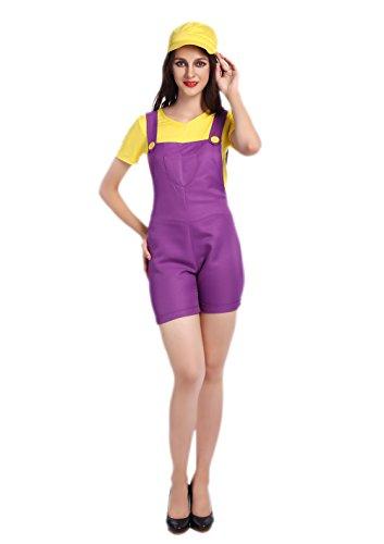 Sexy Halloweeen Costumes (JJ-GOGO Halloweeen Plumber Cosplay Costume For Women (Purple))