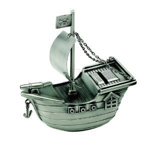 Pirate Ship Bank - Creative Gifts International Pirate Ship Bank, Silver, 6 x 5.5 inches