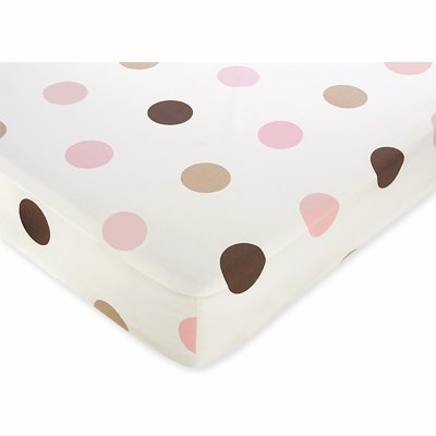 Sweet Jojo Designs Mod Dots Pink and Brown Fitted Crib Sheet for Baby and Toddler Bedding Sets - Large Dot (Polka Pink And Dot Nursery Brown)