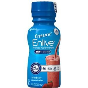 Ensure Enlive Advanced Therapeutic Nutrition Shake, Institutional, Strawberry, 8 oz Bottle PK24 by Ensure
