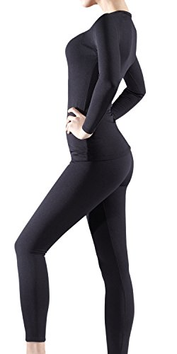 BU-WHS200-BLK_Medium Tesla Blank Women's Top & Bottom Set w Microfiber WHS200 - Fleece Thermal Underwear