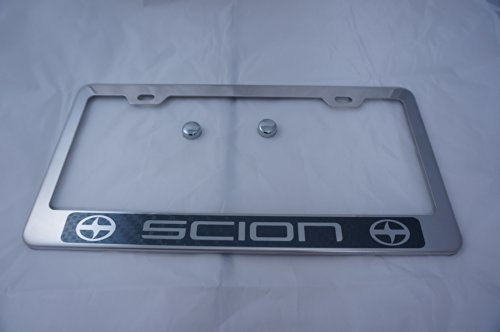 Scion Chrome Stainless Steel License Plate Frame w/ Carbon Fiber Style Letter
