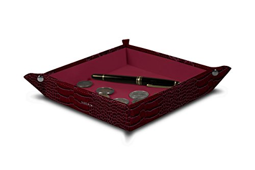 Lucrin - Square Valet Tray - Fuchsia - Crocodile style calfskin Calfskin Square