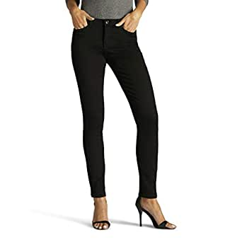 Lee Women's Size Tall Sculpting Slim Fit Skinny Leg Jean, Black, 6