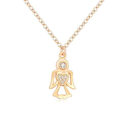 CHUYUN Simple Enamel Dance Ballet Girl Fairy Angel Necklace Chain Pendant Fashion Jewelry Women ()