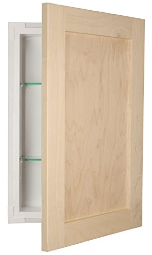 WG Wood Products FR-230-Unf Door Shaker Style Frameless Recessed In Wall Bathroom Medicine Storage Cabinet-Multiple Finishes, Unfinished by WG Wood Products